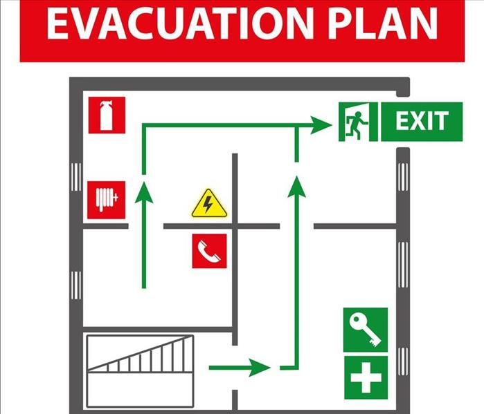 Signs for the evacuation plan of the building in case of fire or a hazardous incident.